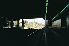 Underground II (homesickATLien) Tags: 35mm film art kodak analog expired mjuiii olympus melbourne victoria australia noir train station underground neon public transport