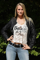Lorena 02 (The Booted Cat) Tags: sexy long blonde hair girl model woman tight blue jeans leather jacket