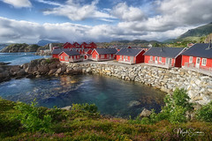 Statles Rorbuer, a traditional fishermen village (marko.erman) Tags: norway nordland village fishermen sea mountains water clouds beautiful sony scenic idyllic nature outdoor outside travel popular quiet serenity drying flake pure transparency landscape nordic steep sunny montagne ciel paysage eau lac mer rorbuer houses red dwelling reflections lofoten mortsund statles