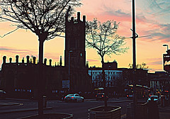 Winter dusk - towards St Luke's Church, Liverpool (ronramstew) Tags: liverpool merseyside church bombedoutchurch stlukes silhouette winter sky leecestreet