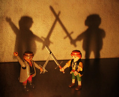 And...Action! (Argyro Poursanidou) Tags: playmobil action battle duel sword shadow light still life