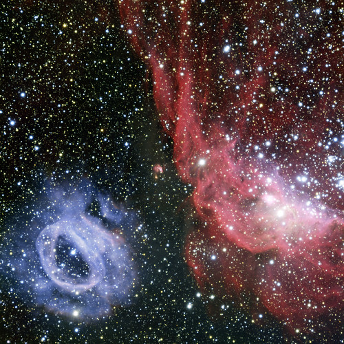 Two very different glowing gas clouds in the Large Magellanic Cloud, variant