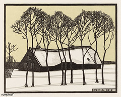Farm in the snow (1918) by Julie de Graag (1877-1924). Original from The Rijksmuseum. Digitally enhanced by rawpixel. (Free Public Domain Illustrations by rawpixel) Tags: nam antique art artwork drawing farm handdrawn house illustrated illustration illustrator juliedegraag name old pdrijks publicdomain rijksmuseum sketch snow tree vintage winter woodcut