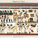 Ancient Eygptian Painting (1904), depicting an ancient vibrantly colored illustration of Nubian chiefs bringing gifts to their king. Digitally enhanced from our own antique print.