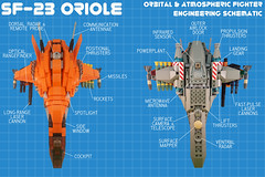 SF-23 Oriole Schematic (Jeffykins) Tags: lego starfighter spaceship fighter orange