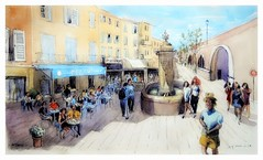 Antibes - Provence - France - fontaine d'Aguillon (guymoll) Tags: googleearthstreetview croquis sketch aquarelle watercolour watercolor aguarela acuarela terrasse café personnages fontaine ville antibes provence france
