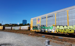 Railroad Graffiti - Nova Scotia, Canada (Coastal Elite) Tags: railroad graffiti dartmouth novascotia trains train rail car boxcar wagon wagons boxcars atlantic canada rails chemindefer ferroviaire street urban art write paint transportation transports tag tags tagging maritimes halifax hrm green letters trainyard railyard unionpacific building america union pacific nouvelleécosse canadian