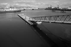 Reykjavik Ramp & Dock (peterkelly) Tags: bw canon 6d europe iceland gadventures bestoficeland reykjavik oldharbour dock ramp water harbor harbour ship boat railing