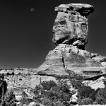 The Moon and a Sandstone Rock Column (Black & White, Canyonlands National Park) thumbnail