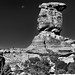 The Moon and a Sandstone Rock Column (Black & White, Canyonlands National Park)
