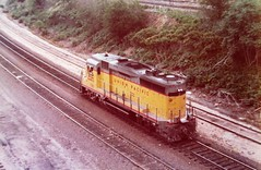 Union Pacific GP30 locomotive at Omaha in 1976 0045 (Tangled Bank) Tags: train railroad railway olc classic heritage vintage old north america american equipment union pacific gp30 locomotive omaha 1976 0045