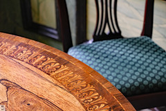 Marquetry furniture (Can Pac Swire) Tags: burghleyhouse manor house prodigy historic mansion park estate aristocracy stately home stamford lincs lincolnshire england great britain british english pe9 elizabethan tudor era period 2016aimg2756 marquetry table chair furniture inlaid wood room