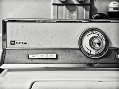 Maytag (stephaneblaisphoto) Tags: communication technology text retro styled no people number radio indoors western script closeup equipment antique control mode transportation analog old sign music maytag appliance washer bw blackandwhite monochrome