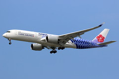 "China Airlines Airbus A350-941 ""Carbon"" livery B-18918 (Manuel Negrerie) Tags: b18918 china airlines airbus a350941 chinaairlines ci cal spotting blue purple livery design a350xwb xwb aib canon plum taiwan taoyuanairport tpe aviation travel asia transport flight"