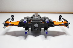 (Improved) Poe Dameron's X-wing: Back View (Evrant) Tags: lego star wars custom x wing t70 t 70 moc bb8 poe dameron black one spaceship starship ship starfighter evrant