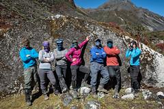 Masked trekkers in the valley of Thampe Chhu - Wangdue Phodrang district - Snowman Trek - Bhutan (PascalBo) Tags: nikon d500 asie asia southasia asiedusud drukyul drukgyalkhap bhutan bhoutan འབྲུག་ཡུལ། འབྲུག་རྒྱལ་ཁབ་ snowman trek trekking hike hiking lunana wangduephodrang himalaya himalayas mountain montagne trekker people outdoor outdoors pascalboegli