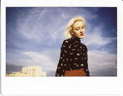 Watch the sky. (symbolicinteraction) Tags: instax wide 300 instant film fairylady portrait analog girl whitehair poznań poznan