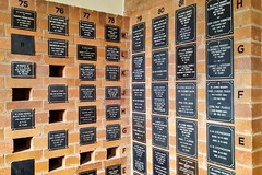 2018. A section of St Andrew's Columbarium. (Love in a little black diary) Tags: brisbane anglicanchurch standrewsanglicanchurchsouthbrisbane southbrisbane historicbuilding heritagebuilding building queensland queenslandheritageregister