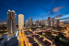 Beach Road Skyline (Scintt) Tags: singapore sky dramatic travel tourist exploration movement motion skyline cityscape city urban modern structures architecture buildings offices shenton way cbd scintillation scintt jonchiangphotography iconic surreal epic wideangle calm glow light tones nature dusk twilight longexposure slowshutter bluehour trails hotel office towers skyscrapers wide night evening sigma art 1224 financial business centralbusinessdistrict residential real estate apartments hdb shophouses sunset clouds bugis beachroad lavender kampongglam concourse