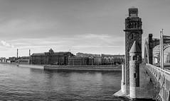 Bridge of emperor Peter the Great (Shumilinus) Tags: 2018 nikond300s city cityscape blackandwhite bw buildings landscape saintpetersburgrussia canal river bridge tower sky clouds archbridge