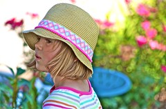 Natural   Beauty (Dee Gee fifteen) Tags: flowergarden girl pinks hat summer stripes bokeh portrait colorful yourbestshot2018 child