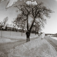 Me in the mirror (Geir Bakken) Tags: drammen mirror tree river snow winter beltica cludor sphere reflection blackandwhite carlzeissjena tessar film filmisnotdead filmphotography ilovefilm analog analogue analogphotography ilford ilforddelta ilforddelta100 fx39 landscape 135