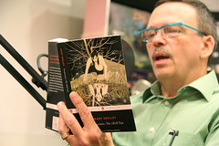 Leonard Delosh, chair for the Department of Management, reads Mary Shelley's Frankenstein as part of Fenway Frankenstein Festival festivities held in late October. (Wentworth Institute of Technology) Tags: army face glasses human military militaryuniform people person soldier