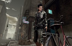 Dark End of the Street (Sadwolf SL Photos) Tags: voodooinmyblood kalback tmd themancave pants jacket bicicle street nativeurban slblogger slmodel avatar sl secondlife mesh bento slfashion menfashion men