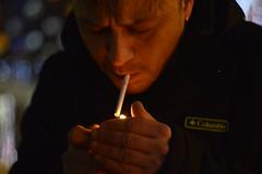 _DSC5097 (Aris_Totel) Tags: light lights shing blinke man male smoke city bokeh bulb