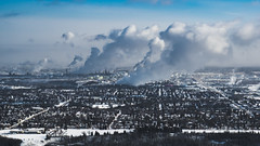 Cloud Factories (Daveography.ca) Tags: edmonton smoke refineryrow refinery winter refineries industrial alberta industry city canada aerial skyline steam frozen