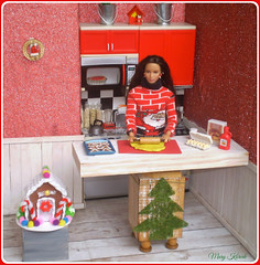 15.advent day - advent calendar with dolls (Mary (Mária)) Tags: barbie doll honeycakes christmas christmastree gingerbread house diorama kitchen red sweater handmade katniss thehungergames mattel marykorcek