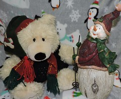 It Was A Nice Visit But Now It's Time To Hit The Slopes (marilyntunaitis) Tags: snowman teddybear plush stuffedanimals