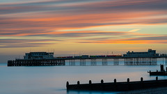 Worthing Winter Sunset (fstop186) Tags: worthing pier sunset sea water reflections longexposure bigstopper beach cold silhouette sky landscape panoramic blur movement