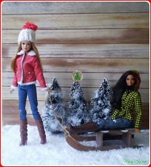 2.advent day - advent calendar with dolls (Mary (Mária)) Tags: christmas doll barbie diorama scene winter wonderland snow christmastree sledge advent calendar christmastime fashion fashionistas stardoll outdoor marykorcek