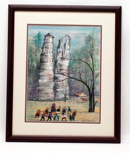 P. Buckley Moss limited edition framed print of Natural Chimneys in Mt. Solon, VA ($302.40)