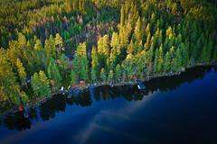 Lakeside cottages (Klas-Herman Lundgren) Tags: dalarna sweden gimmen autumn höst november forest trees lake sjö skog travel blue cottages cabins sverige sifferbo se