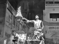 varanasi 2017 (gerben more) Tags: aarti varanasi blackwhite monochrome man ceremony benares india prayer
