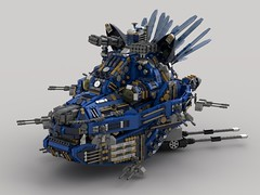 Hyena Fortress Ship v200 (showcase) (demitriusgaouette9991) Tags: lego ldd military army armored powerful whitebackground future vehicle fortress ship deadly destroyer aircraft railgun missile lmg eye lasers cockpit heavy