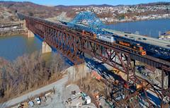 Speers Trestle (benpsut) Tags: we wheelingandlakeerie we6389 trains railroad bridge high drone aerial dji djiphantom4pro sky coke wlepittsburghsub speers speerstrestle wle