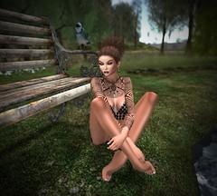 Waiting around (Rosie Respectful) Tags: secondlife avatar park bench sexy