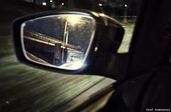 Burning my bridges and smashing my mirrors (Echo & the Bunnymen) [16/365] (stef demeester (sometimes off)) Tags: bridge car fujix100f fujifilmx100f mirror monochrome stefdemeester x100f