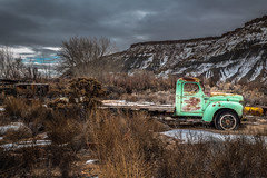 Caineville, Utah (paccode) Tags: solemn d850 landscape winter bushes brush serious quiet abandoned tree utah wreck truck colorful desert scary forgotten hills creepy mountain torrey unitedstates us