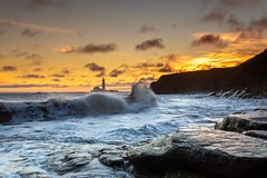 "Old Hartley (mandyhedley) Tags: ""extraordinarilyimpressive"" ""flickrtravelaward"" sunrise sea"" sea seaside lighthouse england northumberland coast landscape ""old hartley"""