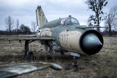 Top Gun (Mike Foo) Tags: mig plane hdr fujifilm xt2 urbex abandoned abbandono rozklad military derelict decay opuštěný opuszczony dystopia lost secret mig21 airplane sky grass field