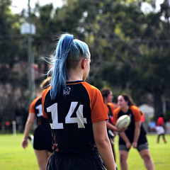 Blue Ponytail (Mike McCall) Tags: copyright2019mikemccall photography photo image usa culture southern america thesouth unitedstates northamerica south georgia stpatricksdayrugbytournament stpatrick day rugby tournament game sport sports field pitch football savannah chatham county documentary editorial side daffin park daffinpark parkside
