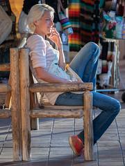 Relaxing, more comments please! (Ron Scubadiver's Wild Life) Tags: blue denim people portrait outdoor nikon seona arizona aprin wood chair 70300