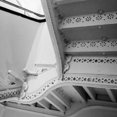 Victorian staircase (chromaphoto uk) Tags: stairs wrought iron ironwork victorian hospital mono monochrome architecture