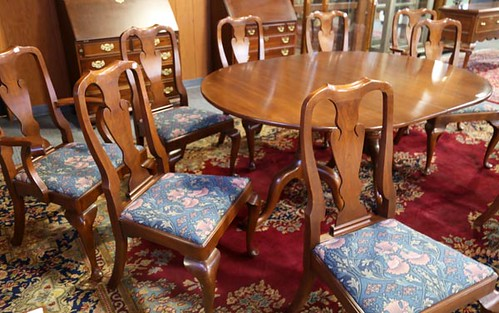 Henkel Harris Queen Ann table with 8 chairs ($728)