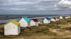 Les cabines multicolores (Lucille-bs) Tags: europe france normandie manche gouvillesurmer cabine mer plage couleur dune
