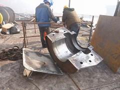 Resize of P1360836 (OpalStream) Tags: rudder marine vessel repair works overhauling workshop measurements filler gauge dirt